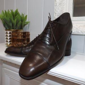 Salvatore Ferragamo Brown Leather Cap toe Oxfords